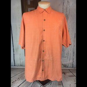 Tommy Bahama 100% Silk Peach Shirt Size XL